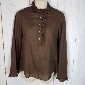 Tory Burch 2 Brown Ruffled Blouse Cotton
